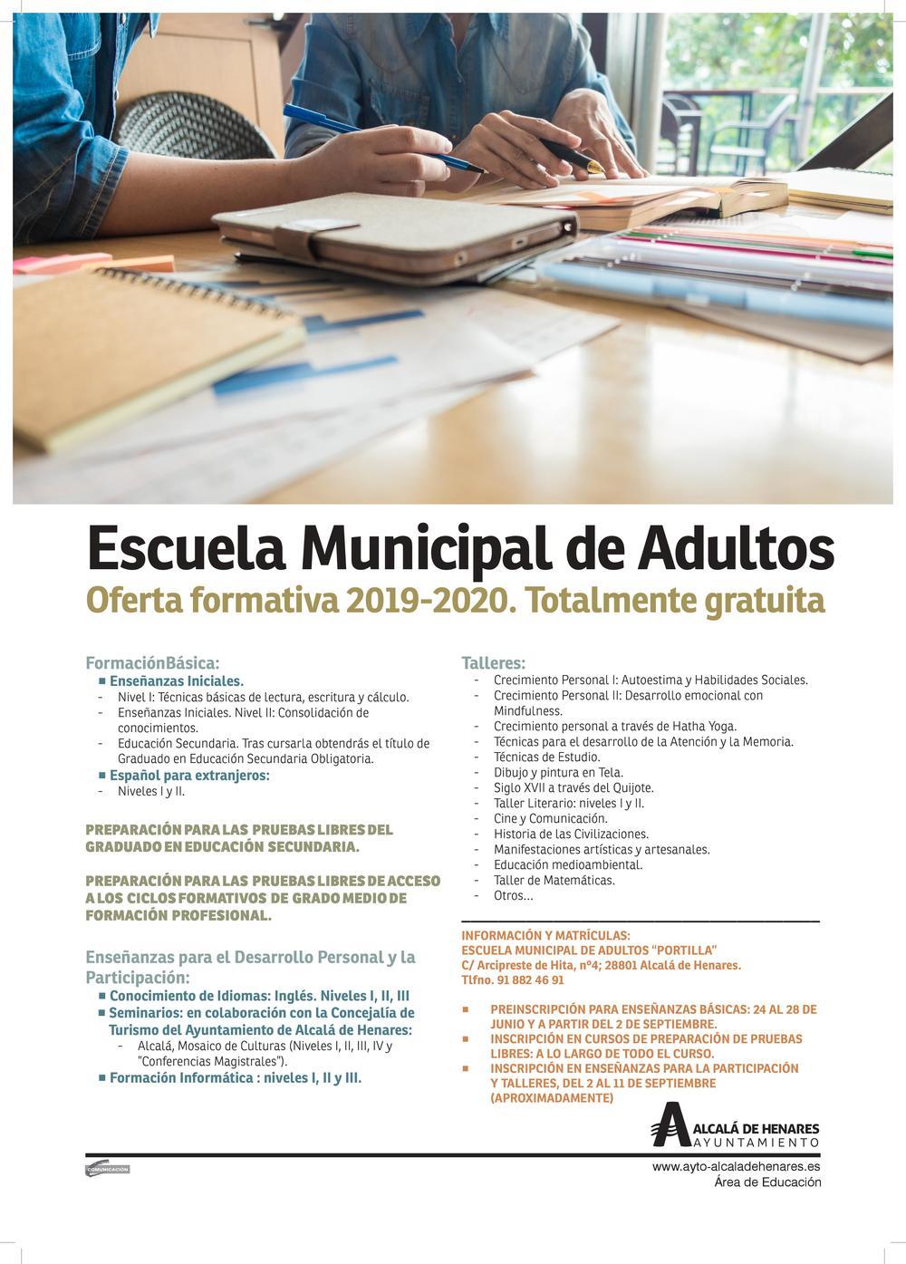 La Escuela Municipal De Adultos Abre Su Preinscripción Para La Oferta Formativa 2019 2020 Toda Ella Gratuita Ayuntamiento De Alcalá De Henares