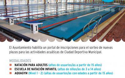 El Ayuntamiento habilita un portal de inscripciones para el sorteo de nuevas plazas para las actividades acuáticas de Ciudad Deportiva Municipal
