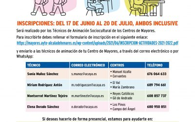 Mayores abre el plazo de inscripción en las actividades de los Centros Municipales de Mayores